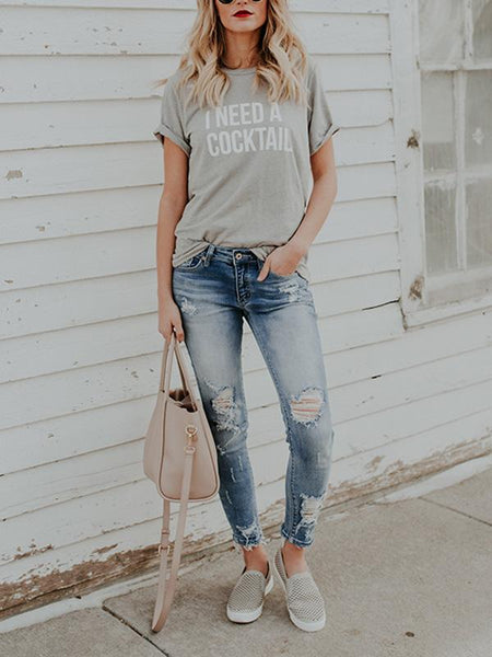 Gorgeous Round-neck Short Sleeves T-shirts Tops