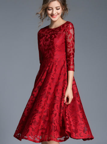 Fashion O-neck Sexy Hollow Out Blue Red Dresses