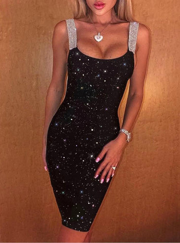Women Sexy Glitter Thick Strap Party Dress