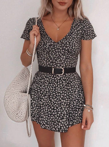 Women Floral Print V Neck Dress
