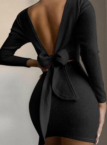 Open Back Knotted Long Sleeve Bodycon Dress