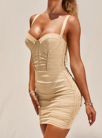 Woman Solid Mesh Bandeau Backless Sexy Party Dress