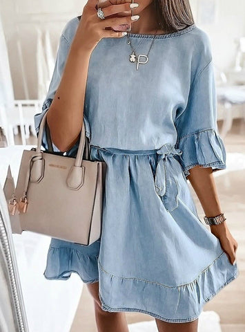 Solid Ruffles Sashes Casual Elegant Sweet Woman Dress