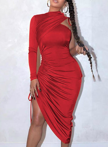 Sexy One Shoulder Drawstring Ruched Bodycon Dress