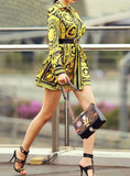 Vintage Scarf Print Long Sleeve Casual Mini Dress