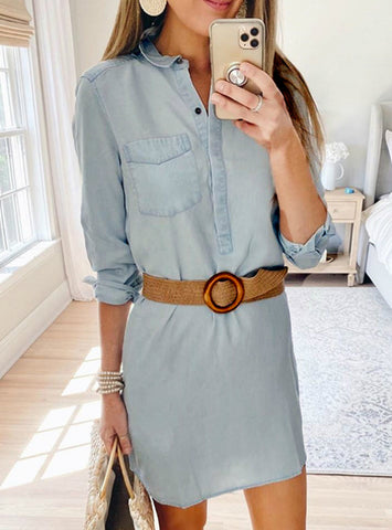 Slim Casual Office Lady Denim Solid Dresses