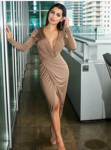 Sexy Deep V Neck Thigh Slit Ruched Long Dress