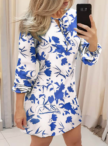 Women Tie Front Long Sleeve Floral Print Dress