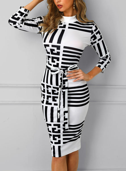 Striped Colorblock Office Ladies Casual Midi Dress