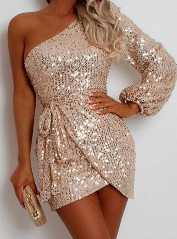 Women Sexy Sequined One Shoulder Bodycon Mini Dress