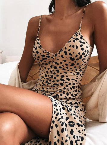 Women Animal Print Bodycon Cami Dress