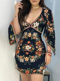 Long Sleeve Floral Print Deep V Dress