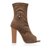 Pretty Peep Toe Stretch Fabric Women's Autumn Shoes Square Heel Open Toe Women's High Heel Boots