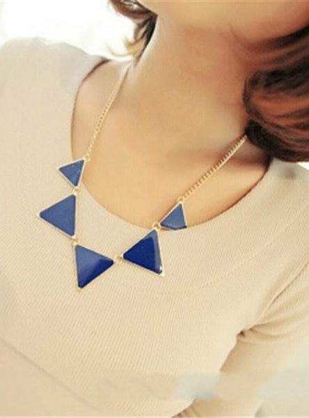 Gold Chain Women Triangle Punk Collar Sweater Chain