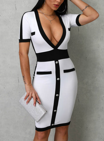 Contrast Color Sexy Deep V-Neck Women Bodycon Dress