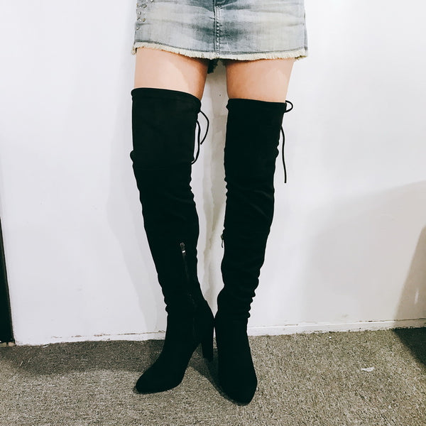 Pretty Women Over the Knee Boots Flock Elastic Brand Pointed Toe Fashion Boots Zipper Black Women Shoes