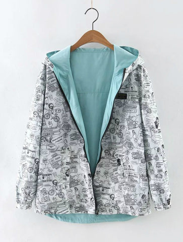 Women Bomber Basic Jacket Pocket Zipper Hooded Two Side Wear Cartoon Print