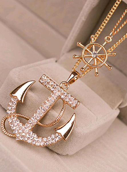 Rhinestone Anchor Rudder Pendant Long Chain Sweater Necklace