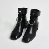 Trendy Ankle Boots For Women Cut-Outs Retro Martin Boots Square Toe Metal Rings Zip Shoes For Ladies Luxury Design