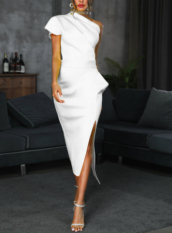 Women Summer Sexy One Shoulder Ruched Irregular Dress