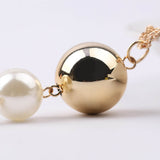 Imitation Pearl Beads Tassels Pendant Long Sweater Chain Necklace