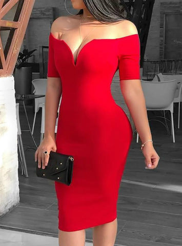 Sexy Deep V-neck Off Shoulder Bodycon Dress