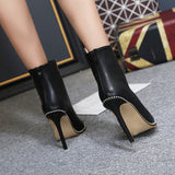 Fashion Women Boots PU Leather Pointed Toe High Heel Platform Ankle Boots Ladies Fur Winter String Bead Shoes Woman