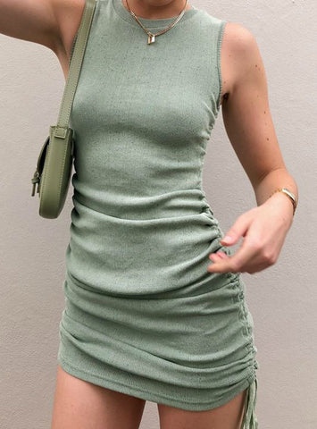 Solid Sleeveless Ruched Bodycon Mini Dress