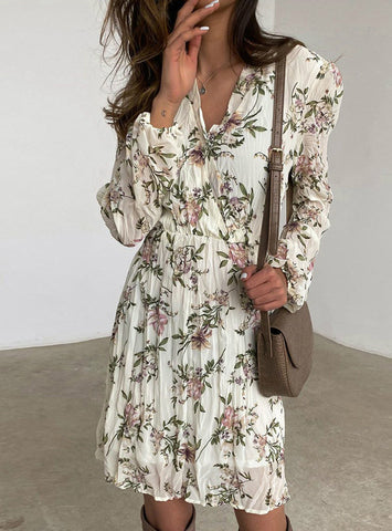 Full Sleeve Slim Elegant Office Lady Draped Ditsy Floral Dresses