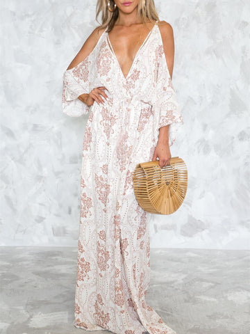 Sexy Deep V-neck Spaghetti-neck Floor Maxi Dress
