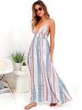 Printed V-Neck Backless Dresses