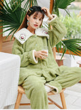 THICKENED AVOCADO GREEN TWO-PIECE SUIT PAJAMAS