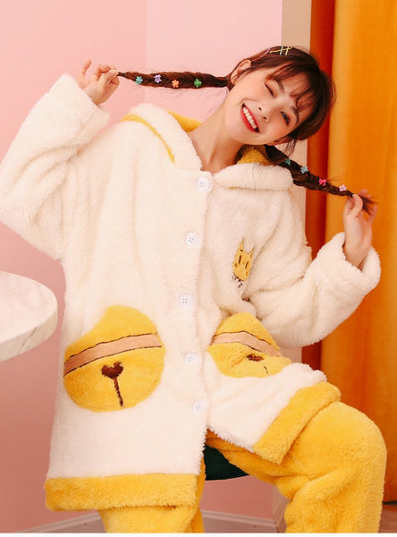 WOMEN WHITE CAT BELL TUIT THICKENED CORAL FLEECE LONG ROBE