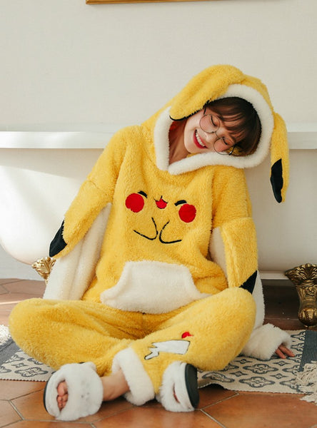 WOMEN WINTER YELLOW PIKACHU HOODED PAJAMAS
