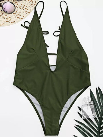 Dark Green Padded Bandeau One Piece Swimsuit