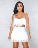 Tassel Embroidery 2 Pieces Set Spaghetti Straps Crop Top