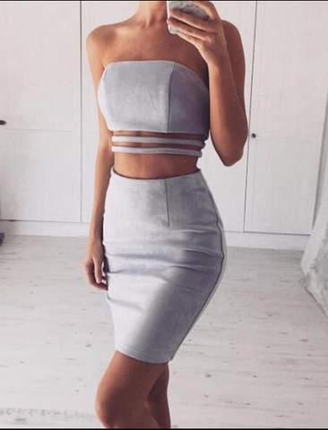 Gray Suede Leather Bodycon 2 Piece Set