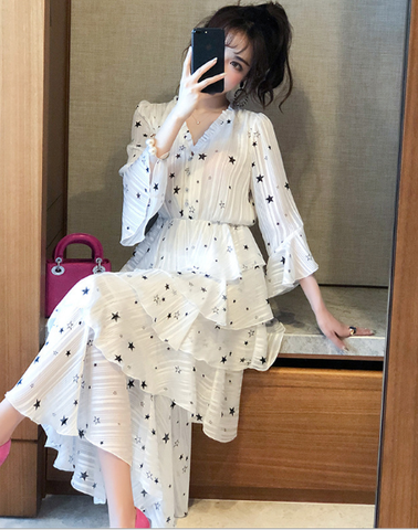 Ruffled Star Long Sleeve Dress