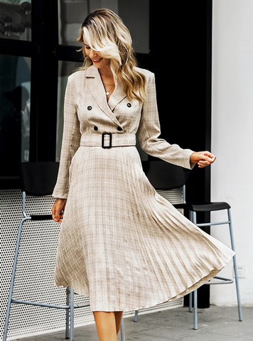 LONG SLEEVE FEMALE AUTUMN MIDI PARTY DRESS