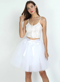 WOMENS 7 LAYERS MIDI TULLE SKIRT FASHION TUTU SKIRTS