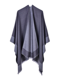 SCARF DUAL-PURPOSE MONOCHROME FRINGED SHAWL