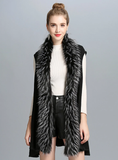 WOMEN'S IMITATE FOX FUR COLLAR KNITTED CARDIGAN VESTS