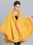 FOX LIKE FUR COLLAR KNITTED CAPE COAT WITH LARGE SHAWL