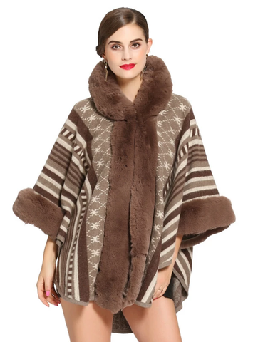 KNITTED SHAWL CLOAK IMITATION REX RABBIT FUR COLLAR CAP