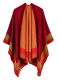 JACQUARD BORDER GOMETRIC SHAWL CAPE CLOAK