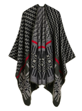CROSS WAVY GEOMETRY CASHMERE SHAWL CAPE