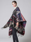 GEOMETRIC RHOMBIC LENGTHENED CAPE WITH SPLIT SHAWL