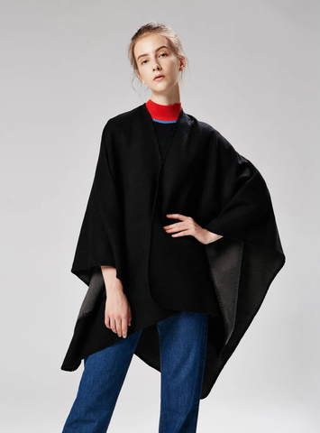 SOLID COLOR CASHMERE LIKE CAPE WITH LARGE SPLIT SHAWL