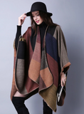 JOKER PLAID SHAWL CASHMERE SPLIT THICK CLOAK