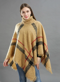 MIDDLE LENGTH HIGH-NECKED KNITWEAR CAPE SHAWL BLOUSE